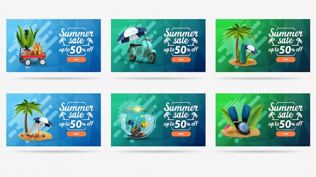 Summer sale, colorful bright web banner for your website with summer icons, letterings and buttons.