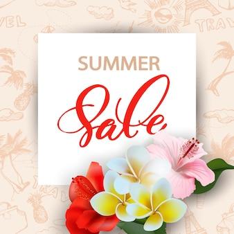 Концепция летней распродажи. летний фон с тропическими цветами. вектор шаблона.