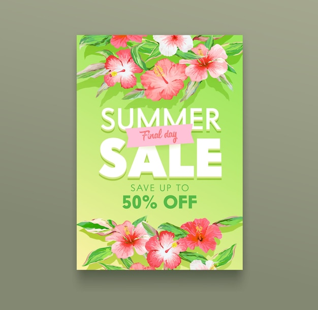 Концепция летней распродажи. тропический рекламный плакат с экзотическими цветами гибискуса и зелеными листьями. рекламный баннер вне дня для летней скидки, дизайн флаера с розничным предложением магазина. векторные иллюстрации