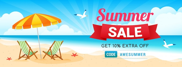 Summer sale coupon banner