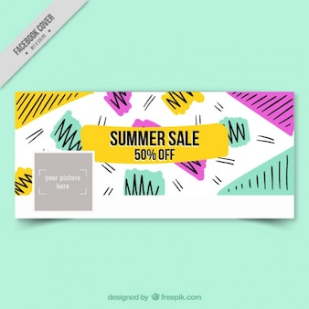 Summer sale cover in memphis style