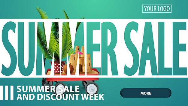 Summer sale, creative pink discount web banner for your website