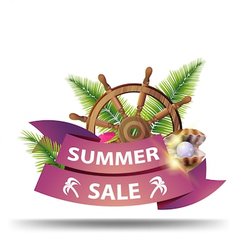 Summer sale, creative web banner with ribbon