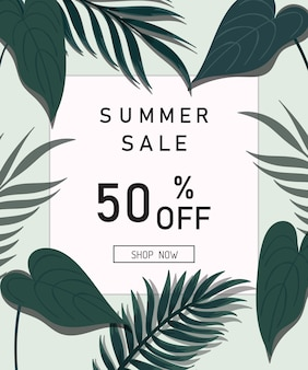 Summer sale design tropical leaves