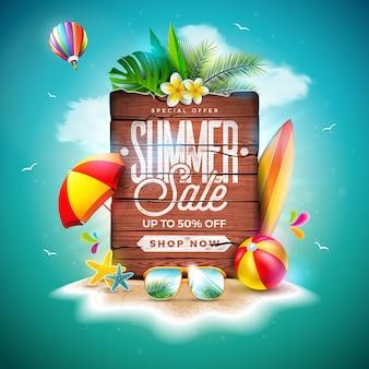 Летняя распродажа с экзотическими пальмовыми листьями и винтажной деревянной доской