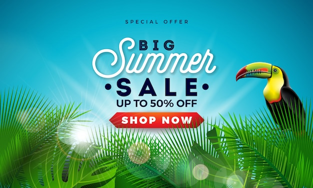 Summer sale design with exotic palm leaves and toucan bird