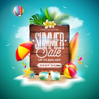 Summer sale design with exotic palm leaves and vintage wood board