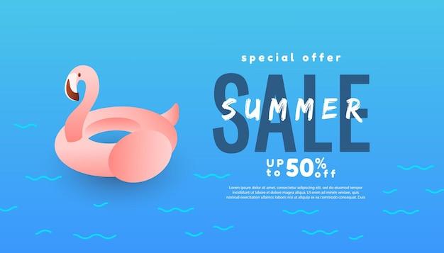 Летняя распродажа дизайн с фламинго