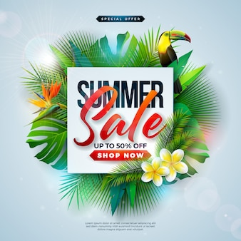 Summer sale design with flower and exotic palm leaves