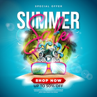 Summer sale design with palm trees and sunglasses