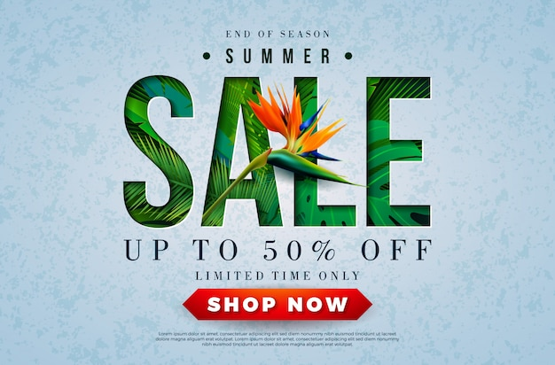 Summer sale design with parrot flower and tropical palm leaves