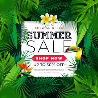 Summer sale design with toucan bird and parrot flower on green background