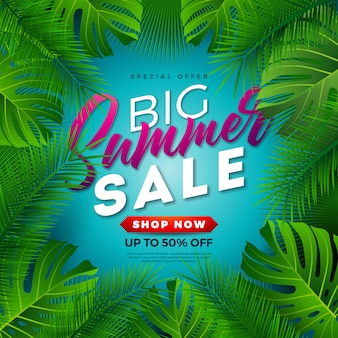 Summer sale design with tropical palm leaves on blue background