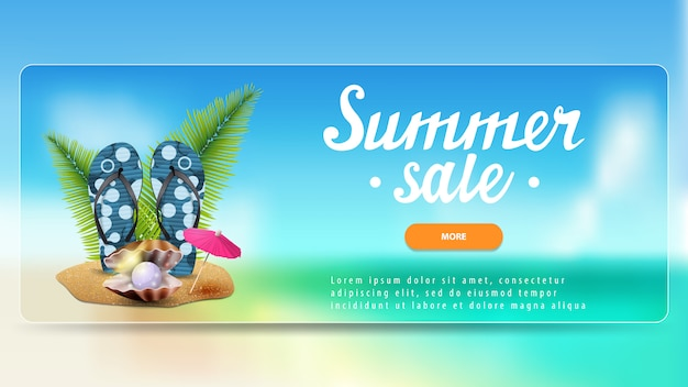 Summer sale, discount banner with button