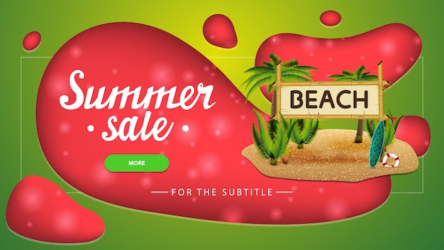Summer sale, discount banner with modern design