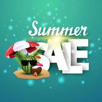 Summer sale, discount banner for your creativity with capital letters