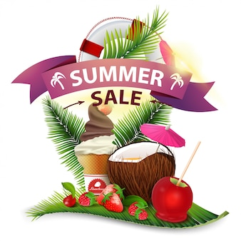 Summer sale, discount clickable web banner in the form of ribbons