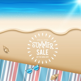 Summer sale discount end of season banner on location beautiful beach background. vector illustration