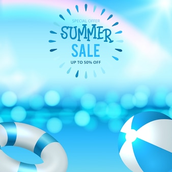 Summer sale discount end of season banner on location beautiful beach background.