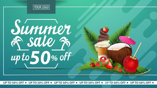 Summer sale, discount horizontal banner for online store