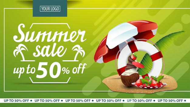 Summer sale, discount horizontal banner