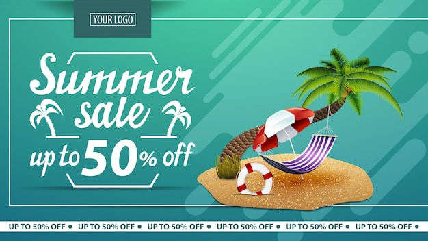 Summer sale, discount horizontal web banner for online store