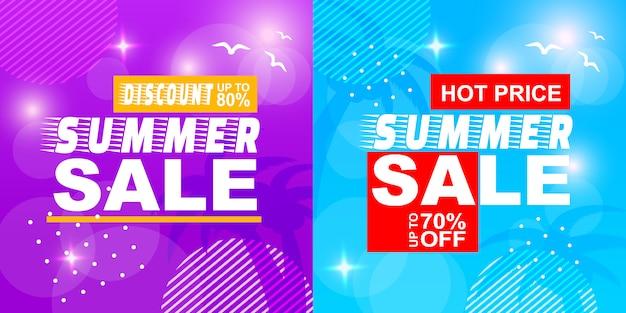Summer sale discount hot price off banner set