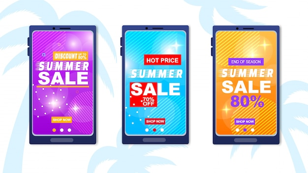 Summer sale discount hot price season end banner set