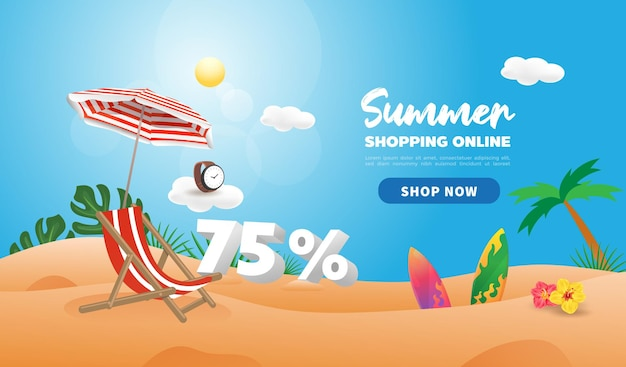 Summer sale discount promotion banner. shopping online in hot season