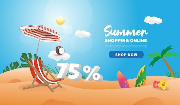 Летняя распродажа скидка рекламный баннер. покупки в интернете в жаркое время года