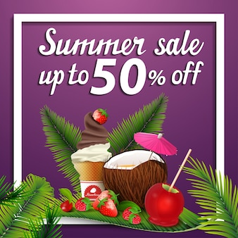 Summer sale, discount square web banner with coconut cocktail