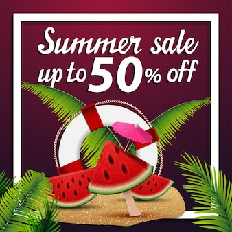 Summer sale, discount square web banner with watermelon slices