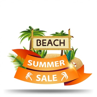 Summer sale, discount web banner in the form of ribbons for your business