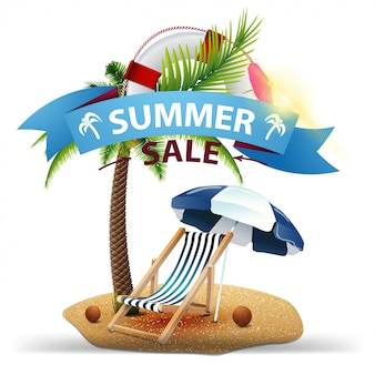Summer sale, discount web banner in the form of ribbons