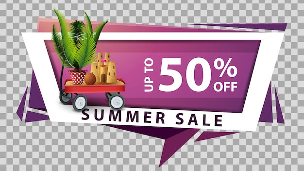 Summer sale, discount web banner in geometric style