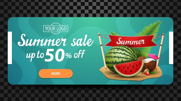 Summer sale, discount web banner template