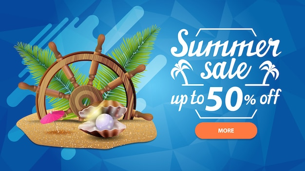 Summer sale, discount web banner for your site in a modern style with button