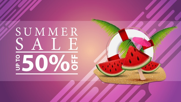 Summer sale, discount web banner for your site in a modern style