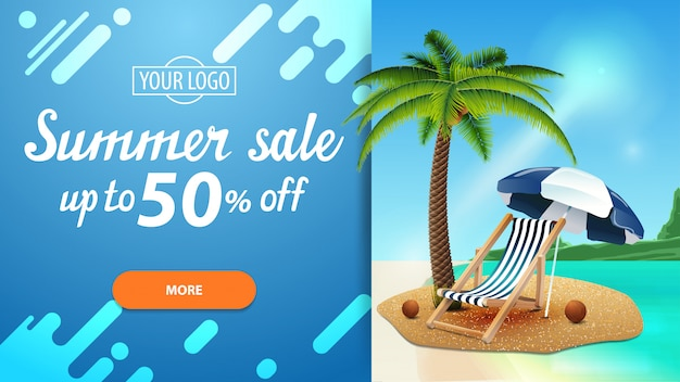 Summer sale, discount web banner for your website with beautiful seascape