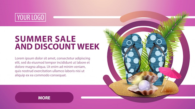 Summer sale and discount week, banner with flip flops, pearl and palm leaves