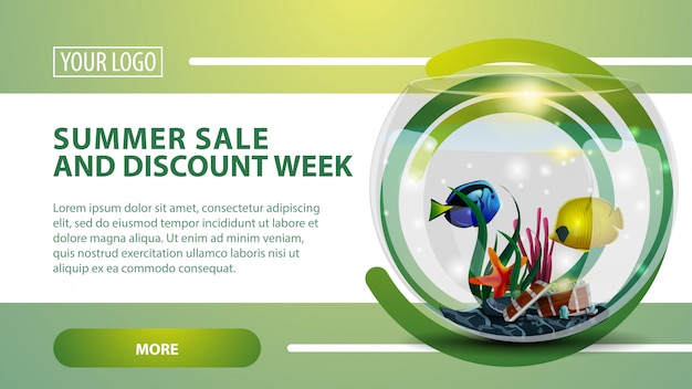 Summer sale and discount week, banner with round aquarium with fish