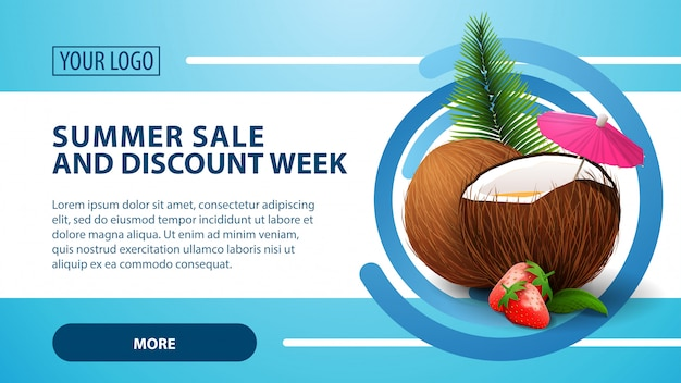 Summer sale and discount week, banner with strawberry cocktail in coconut