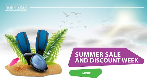 Summer sale and discount week, clickable web banner for your website