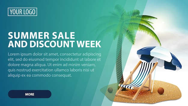 Summer sale and discount week, creative green discount web banner for your arts