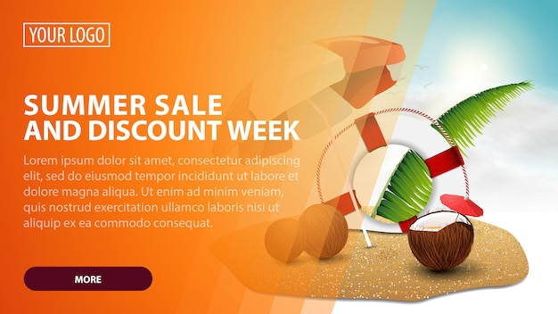 Summer sale and discount week, creative orange discount web banner for your arts