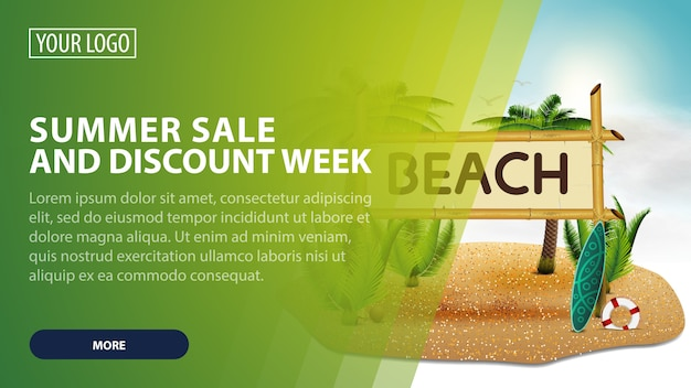 Summer sale and discount week, creative pink discount web banner for your arts