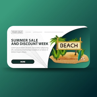 Summer sale and discount week, horizontal banner with modern design