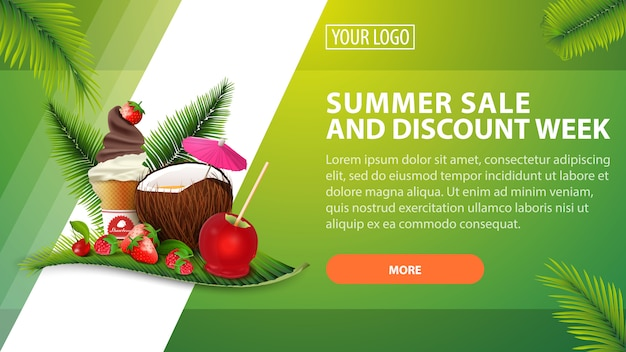 Summer sale and discount week, horizontal discount banner for your website