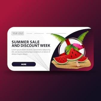 Summer sale and discount week, modern 3d discount banner for your business