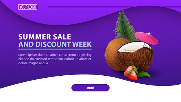 Summer sale and discount week, modern discount banner